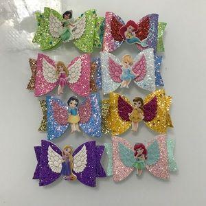 Disney Princess Hair Clips Bows sparkly
